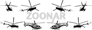 A set of vector black-and-white images of various helicopter models