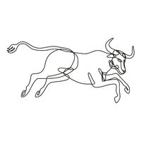 Texas Longhorn Bull Jumping Side View Continuous Line Drawing