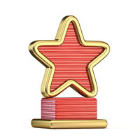 Gold star trophy with red details 3D