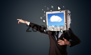 Business man with a monitor on his head, cloud system and pointers on the screen
