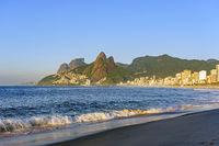 Dawn at Ipanema beach in Rio de Janeiro still empty