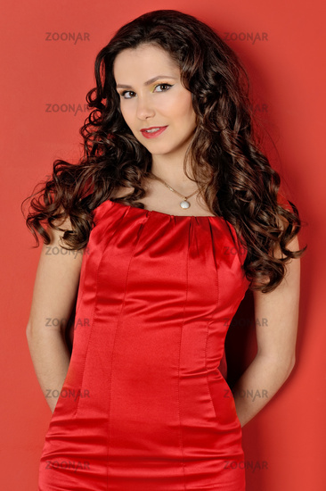 beautiful woman in a red dress.
