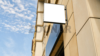 Firmenschild Mock-Up Template an Business Gebäude