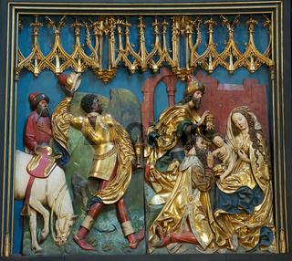 Teil des Veit-Stoss-Altars in der Marienkirche von Krakau: 'Huldigung Dreier Könige'