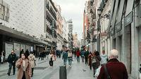 Busy street of Calle Preciados. Madrid. Spain