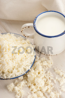 Breakfast with milk and cottage cheese