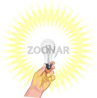 Color image of a hand holding a burning light bulb