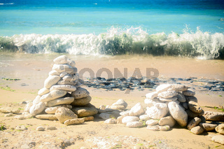 Pile of stones on the beach