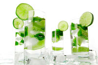Mojito cocktails on white