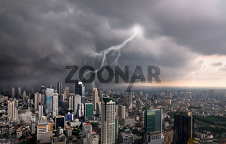 View of a lightning over city