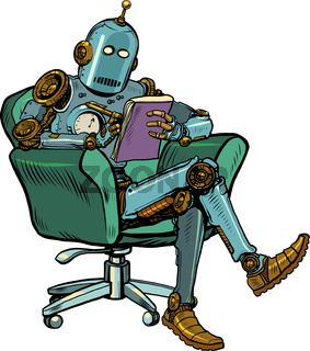 A robot psychotherapist is in a psychotherapy session, sitting in a chair and making notes in a notebook