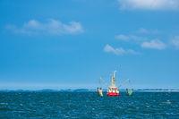Krabbenkutter auf der Nordsee vor der Insel Pellworm