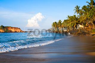 Tropical paradise beach on sunrise light