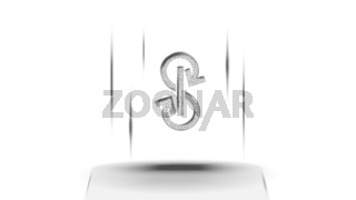 Yearn.finance YFI token symbol of the DeFi system above the pedestal on white background. Cryptocurrency logo icon. Decentralized finance programs. Vector illustration for website or banner.