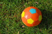 Football ball in green grass of meadow