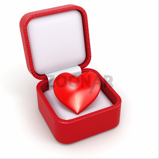 Haert in gift box. Concept of love.