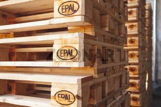 Kyiv, Ukraine - September 20, 2019: Close up of Piles of EPAL pallets