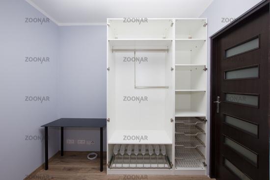 Modern apartment interior with  epty wardrobe