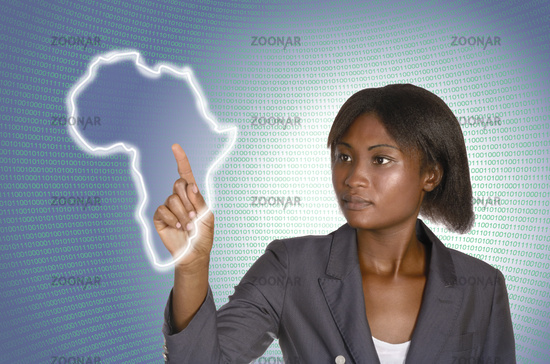 Afrikanische Geschäftsfrau digitale Welt