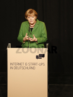 Chancellor Angela Merkel holds at the reception 'Internet & start-ups'