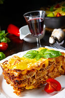 Delicious lasagne with Bolognese and bechamel sauce