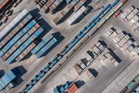 Cargo container terminal with railway