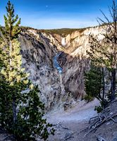 artist point waterfall in yellowstone national park wyoming