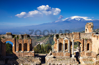 Ruins of the Greek Roman Theater, Taormina, Sicily, Italy