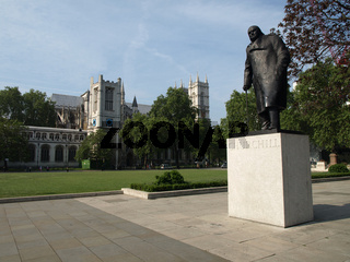 The statue overlooks Parliament from Parliament Square