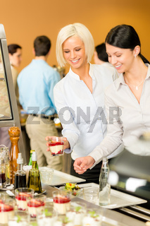 Cafeteria food young woman choose dessert