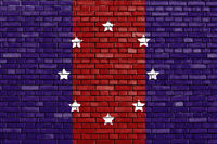 flag of Chicago Heights, Illinois painted on brick wall