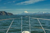 On boat near coast of Kamchatka
