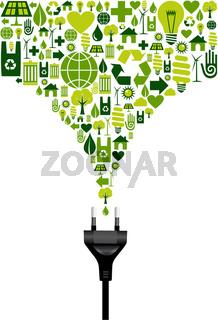 Environmental icons set splash and electric plug
