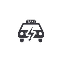 Electric taxi, front view silhouette, simple black icon on white