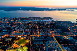 Colorful nightscapes of city Zadar aerial view