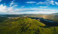 Aerial drone shot of beauty dawn on the peak