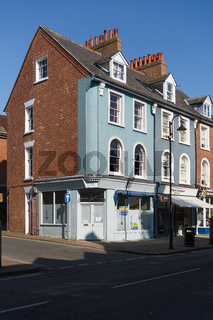 EAST GRINSTEAD, WEST SUSSEX, UK - MARCH 1 : Shops closed because of the lockdown due to coronavirus in East Grinstead on March 1, 2021