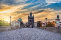 Prague Czech Republic, sunrise city skyline at Charles Bridge, Czechia with autumn foliage season