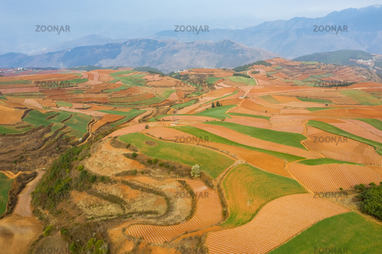 aerial view of yunnan red land