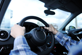 man using car navigation