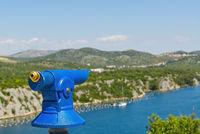 panoramic telescope looking at the Mediterranean sea. Shebeinik, Croatia