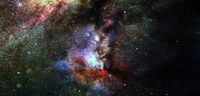 Nebula and stars in cosmos space. Elements of this image furnished by NASA
