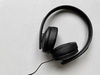 black over-ear headphones with copy space
