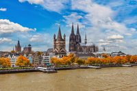 Cologne Germany, city skyline at Cologne Cathedral (Cologne Dom) and Rhine River with autumn foliage season