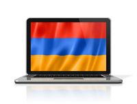 Armenian flag on laptop screen isolated on white. 3D illustration
