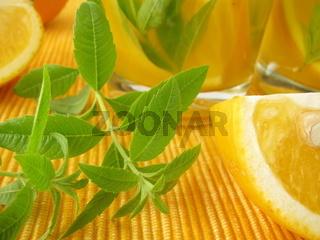 Orangelimonade mit Zitronenverbene