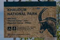 The entrance sign of Khaudum National Park, Namibia