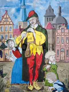 Der Rattenfänger - Wandmalerei an einer Fassade in Hameln
