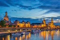 Dresden Germany, night city skyline at Elbe River and Augustus Bridge