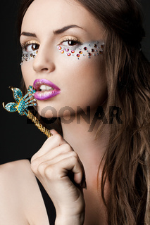 elegant fashionable woman with strasses